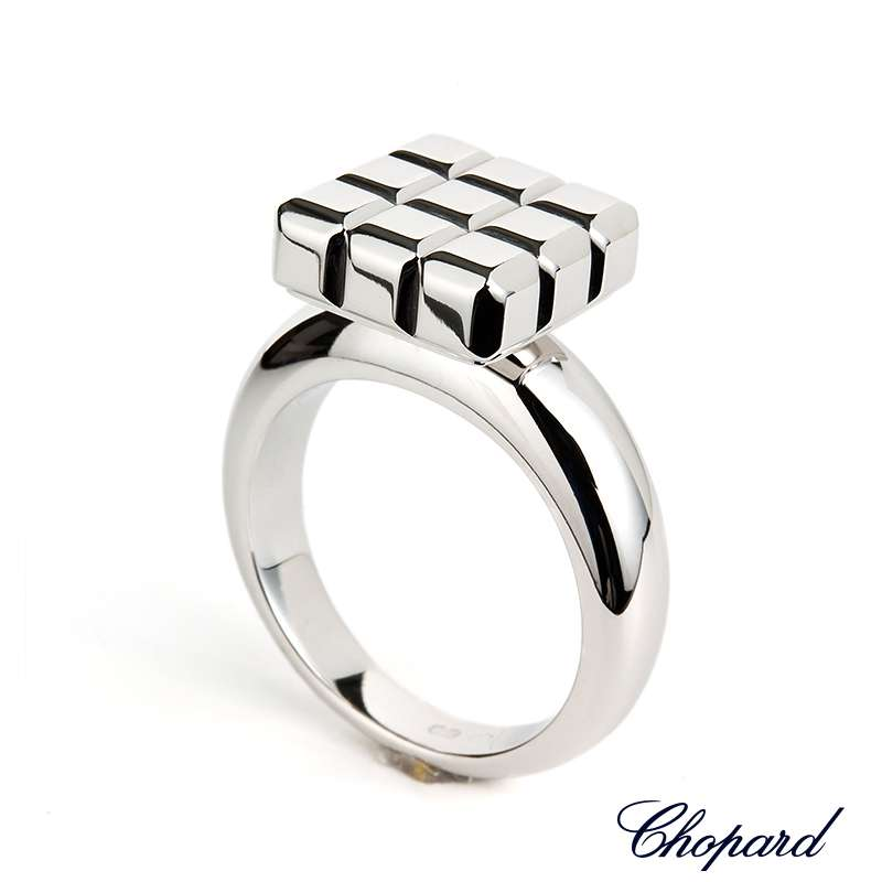 Chopard 18k White Gold Ice Cube Ring 82/3639